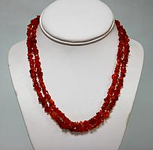 160.01 CTW Natural Un-Cut Red Onyx Bead Necklace
