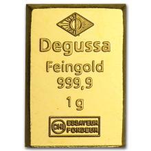 1 gram Degussa Gold Bar .9999 Fine