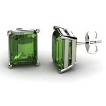 Genuine 8.60 ctw Green Tourmaline Earring 14k W/Y Gold