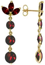 14K. SOLID GOLD DANGLING EARRING WITH NATURAL GARNETS