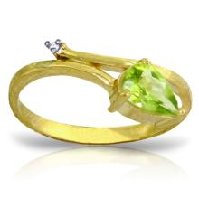 14K. SOLID GOLD RING WITH NATURAL DIAMOND & PERIDOT