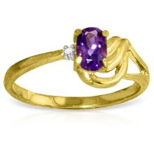 14K. SOLID GOLD RING WITH DIAMOND & AMETHYST