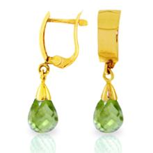 14K. SOLID GOLD LEVERBACK EARRING WITH DROP PERIDOT