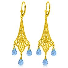 14K. CHANDELIERS EARRING WITH BRIOLETTE BLUE TOPAZ