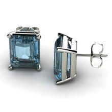 Genuine 6.0 ctw Aqua Marine Earring 14k W/Y Gold