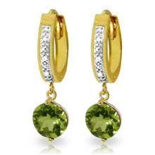 14K. SOLID GOLD HOOP EARRING WITH DIAMONDS & PERIDOTS