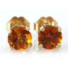 Genuine 2.10 ctw Orange Citrine Stud Earring 14k 0.86g