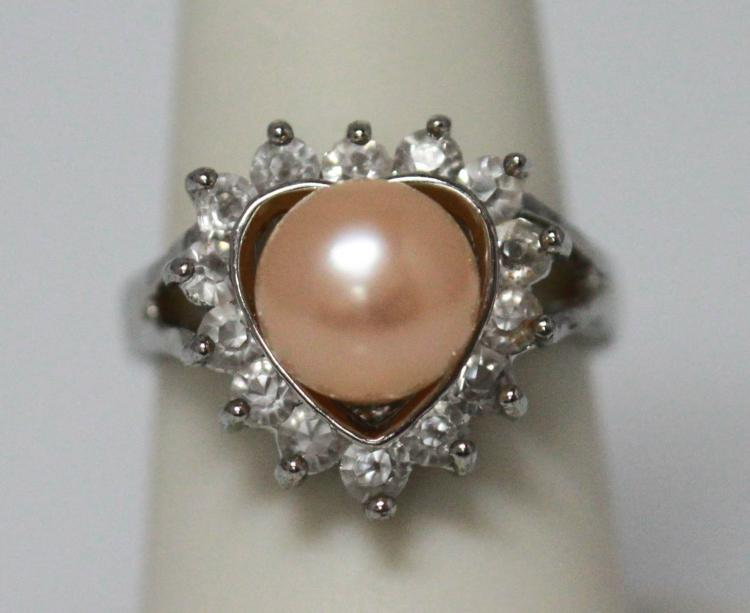 PEACH PEARL AND CZ RING
