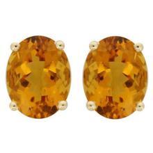 Genuine 3.50 ctw Citrine Oval Stud Earrings 14kt