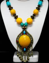 528CTW VINTAGE STYLE WOODEN PLASTIC BEADED NECKLACE 18I