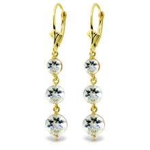 14K. SOLID GOLD CHANDELIER EARRINGS WITH AQUAMARINES