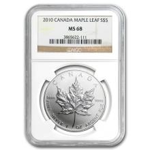 2010 1 oz Silver Canadian Maple Leaf MS-68 NGC