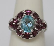 24.00 CTW BLUE TOPAZ, PINKTOURMALINE AND DIAMOND RING .