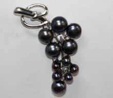 FLOWER STEM BLACK PEARL BROOCH AUTHENTIC PHILIPPINE PEA