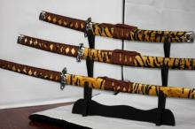 COLLECTORS EDITION CHEETAH PRINT SAMURAI KATANA SWORDS