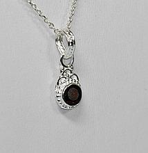 BEAUTIFUL SILVER PENDANT WITH RED RUBY STONE CTW 0.95