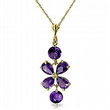14K. SOLD GOLD NECKLACE WITH NATURAL AMETHYST