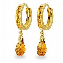 14K. SOLID GOLD HOOPS EARRING WITH DANGLING CITRINES
