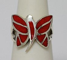 24.15 CTW BUTTERFLY STYLE RING .925 STERLING SILVER