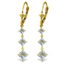 14K. GOLD CHANDELIER EARRING WITH AQUAMARINES