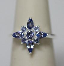 0.86 CTW TANZANITE RING .925 STERLING SILVER