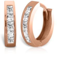 14K. SOLID GOLD HOOP HUGGIE EARRING WITH WHITE TOPAZ