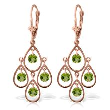 14K. SOLID GOLD CHANDELIERS EARRING WITH PERIDOTS