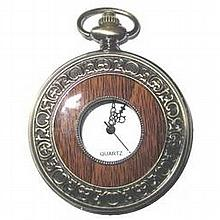 Collectors Edition Antique Wood Grain Pocket Watch