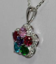 BEAUTIFUL .925 STERLING SILVER MULTI COLOR STONE FLOWER PENDANT