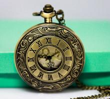 VINTAGE STYLE Roman Numeral Pocket Watch ANTIQUED BRASS