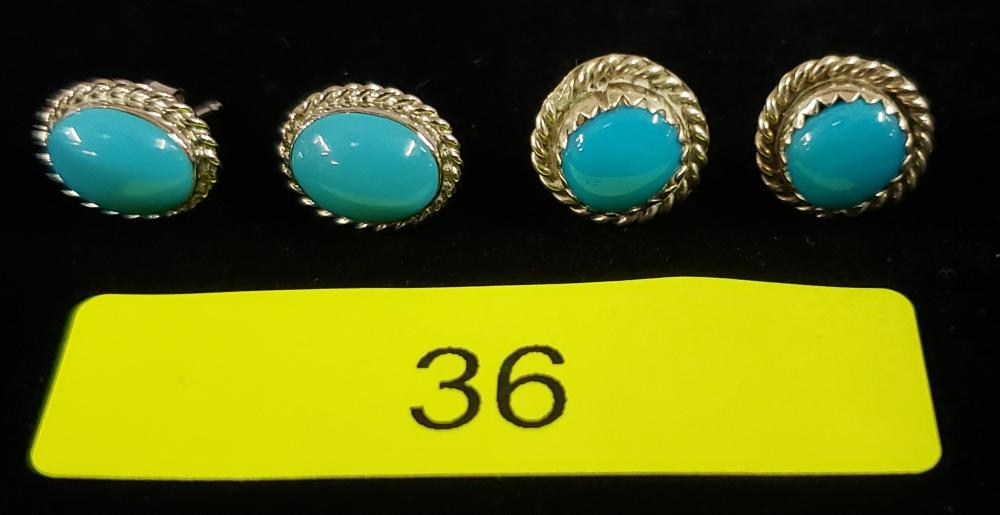 2- PAIR STERLING SILVER CABOCHON TURQUOISE EARRINGS