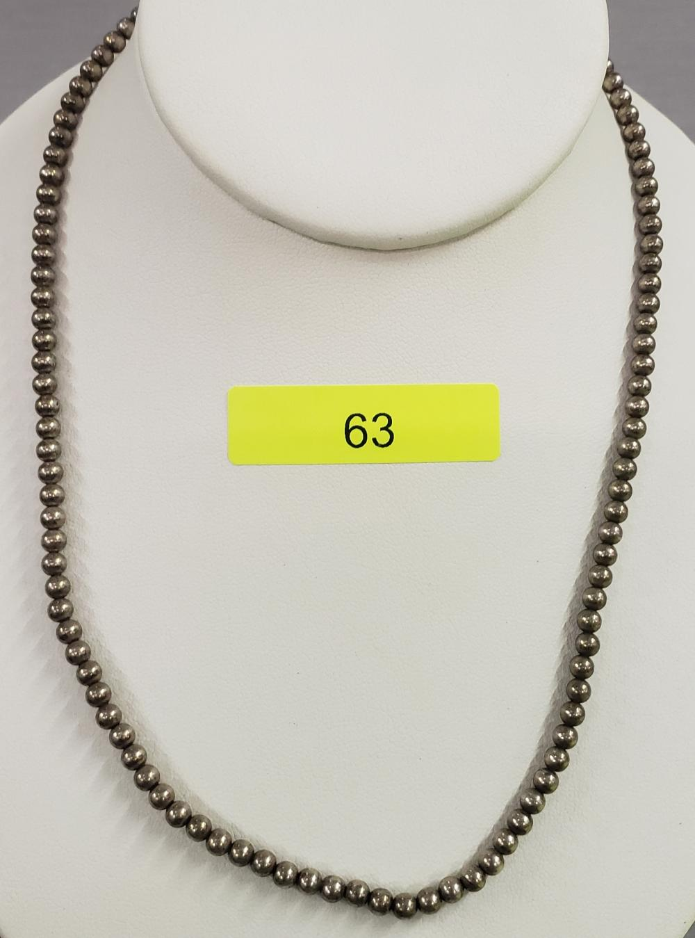 """~18"""" STERLING SILVER BEADED NECKLACE"""
