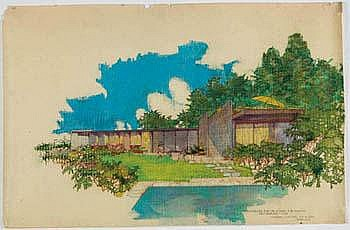 Richard J. Neutra Handcolored drawing For the