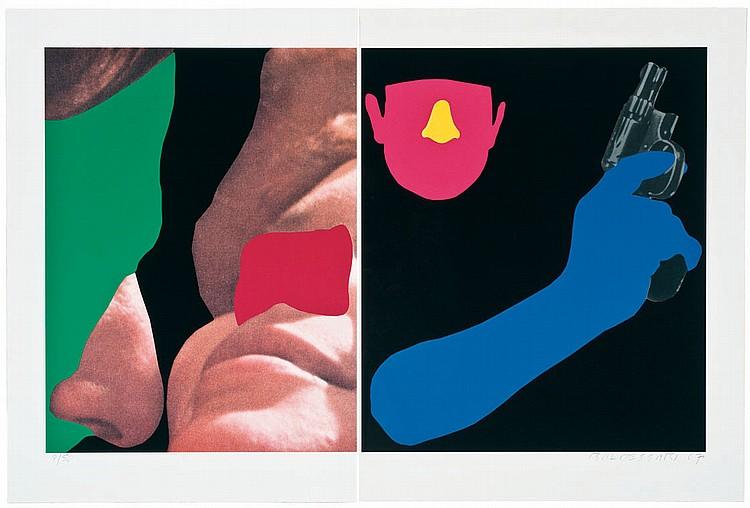 John Baldessari Noses & Ears, Etc.: Couple and Man with Gun