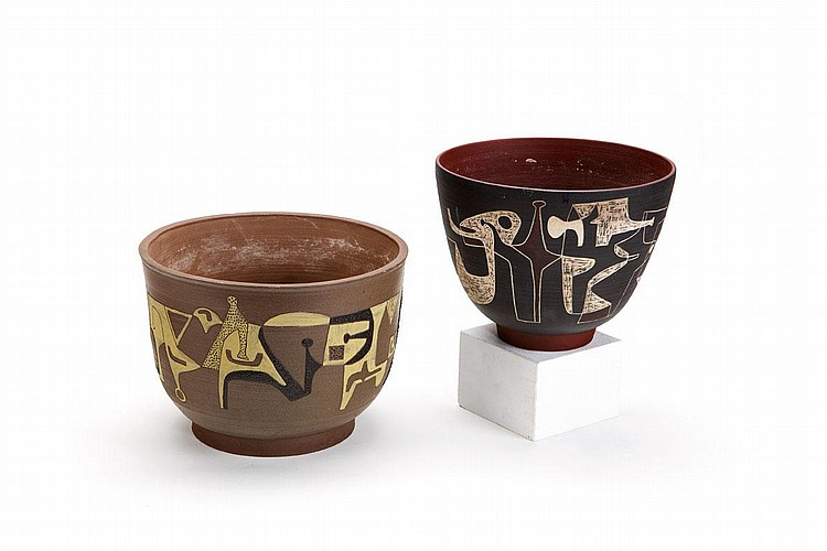 Bowls (2) and Etchings (2)
