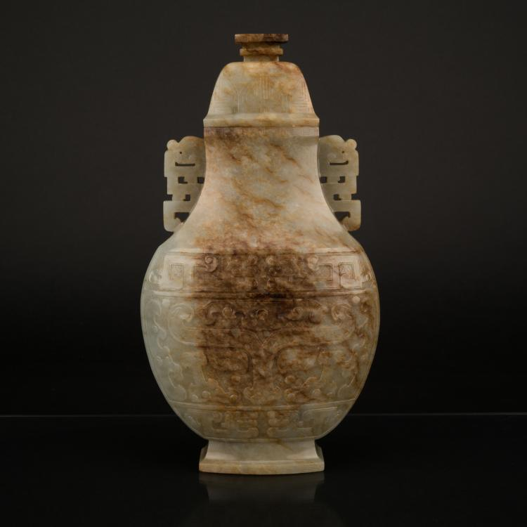 Qing Carved Muttonfat Jade Oval Vase On Stand