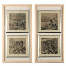 FRAMED CHINESE PAINTING OF WATERSIDE LANDSCAPE