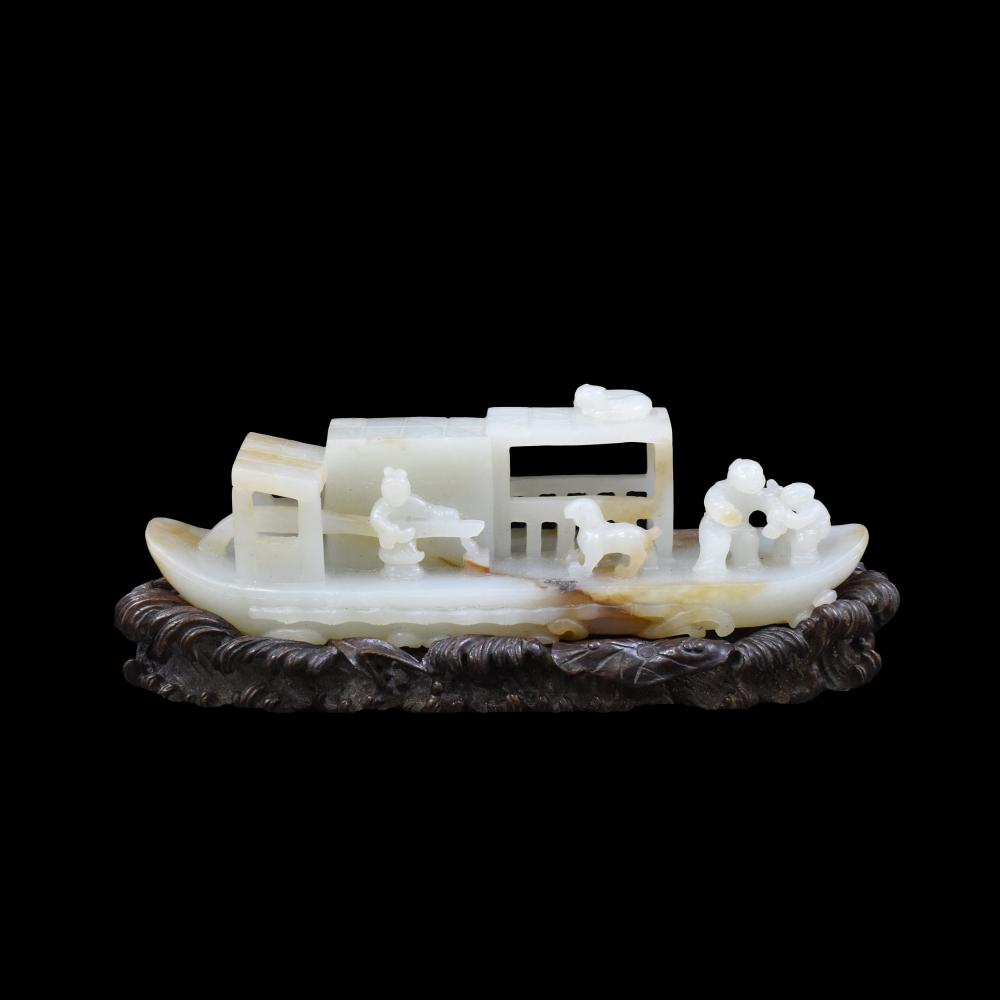 CARVED WHITE JADE MODEL OF FIGURES ON BOAT