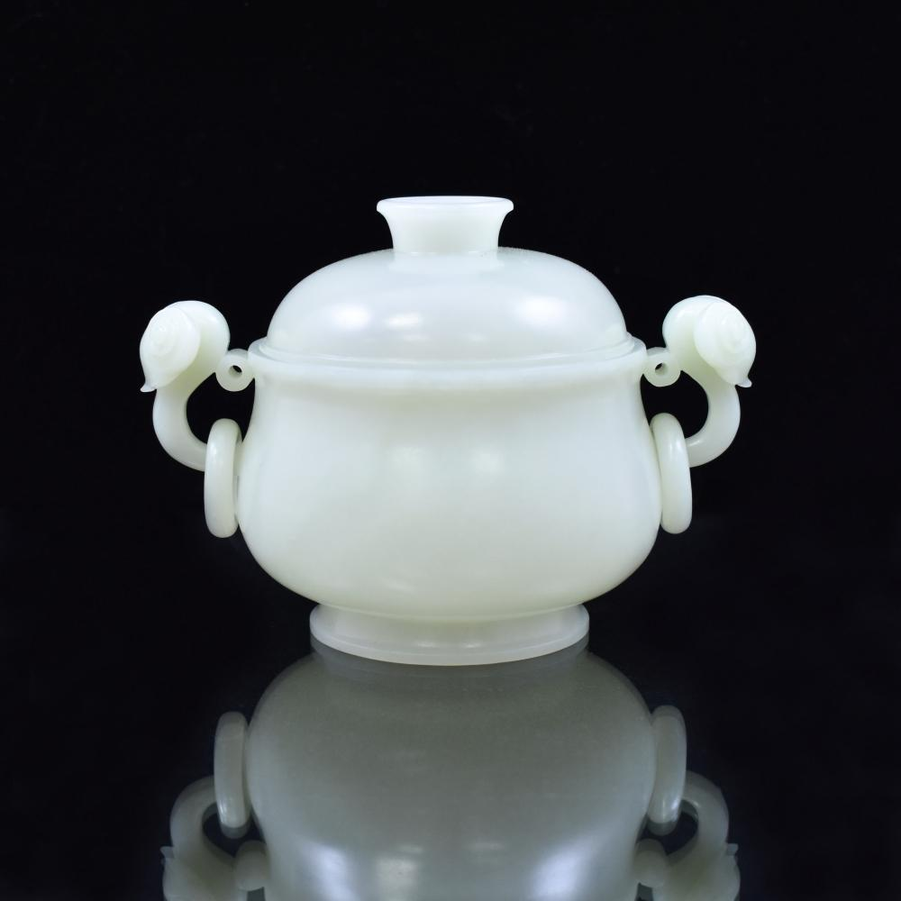 WHITE JADE LIDDED CENSER