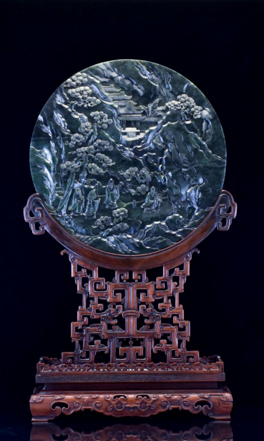 LARGE SPINACH GREEN JADE ROUND TABLE SCREEN