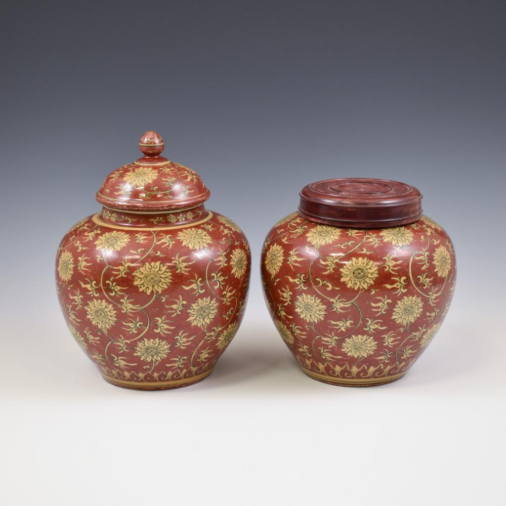 PAIR JIAJING LIDDED JARS