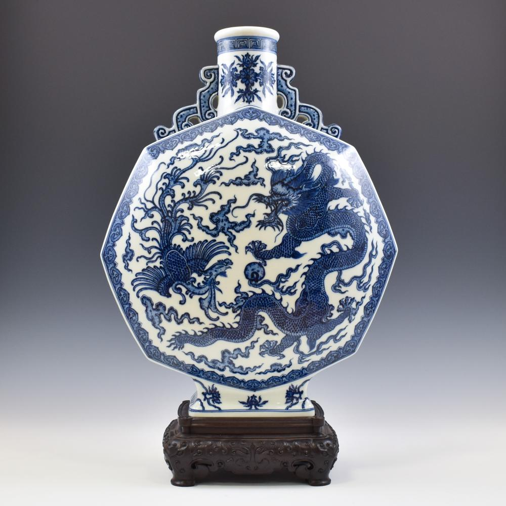 QIANLONG BLUE & WHITE DRAGON PHOENIX HEXAGONAL MOON VASE