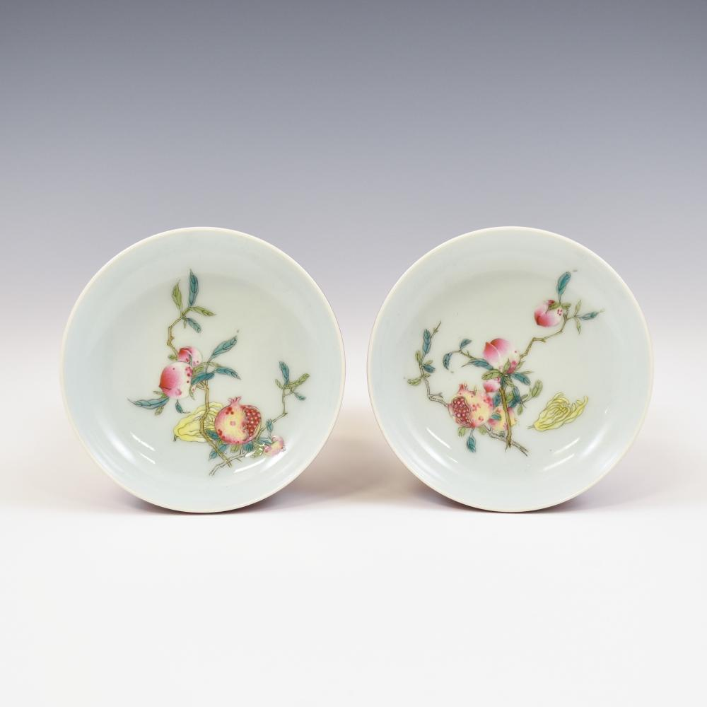PAIR QIANLONG POMEGRANATE ABUNDANT RUBY-RED PLATES