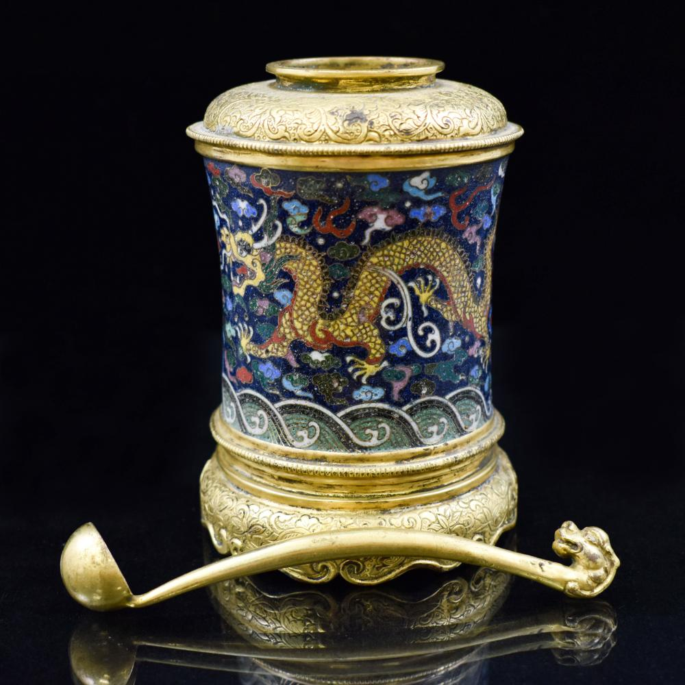 GILT BRONZE & CLOISONNE COVERED JAR, QIANLONG MARK