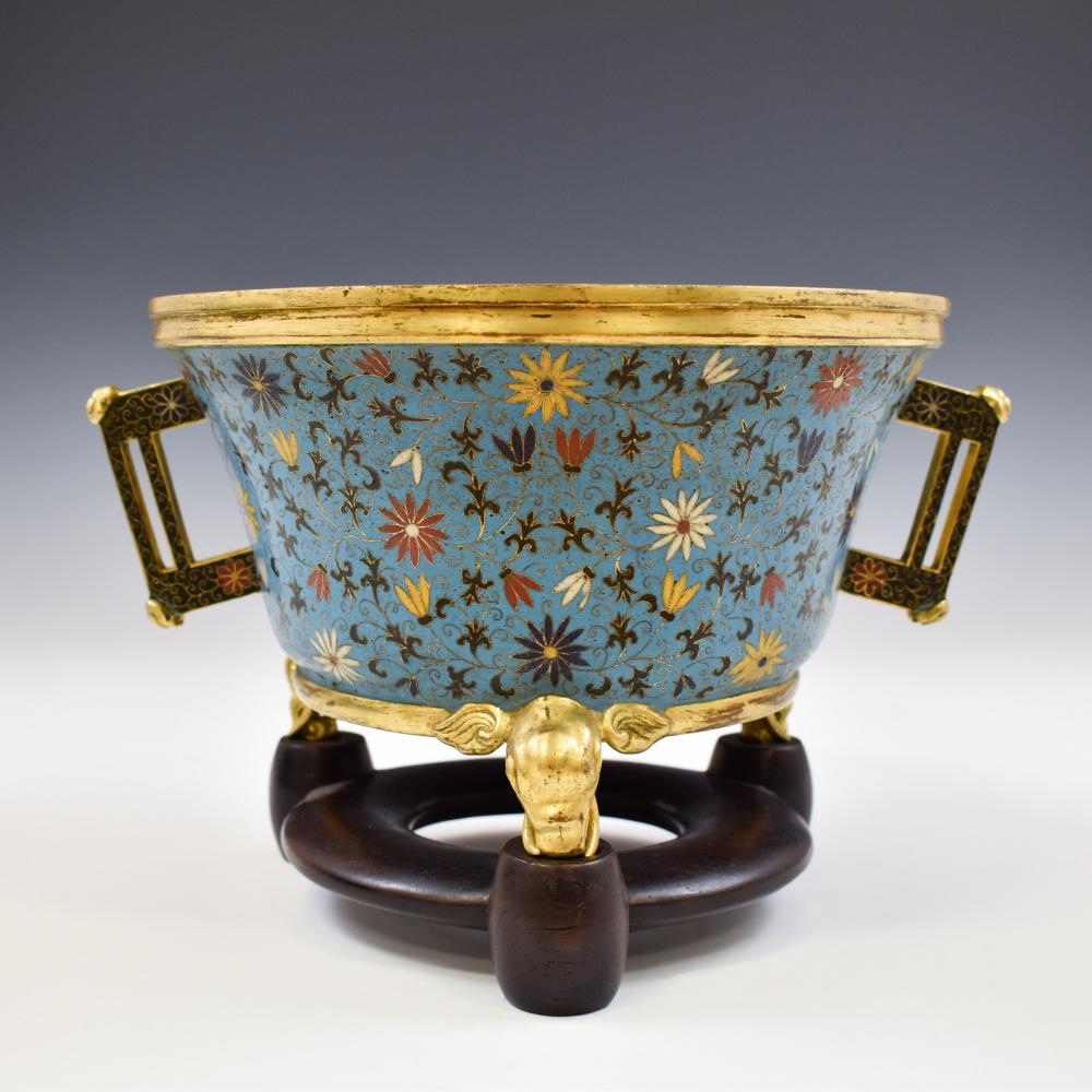 MING TRIPOD CLOISONNE CENSER ON STAND