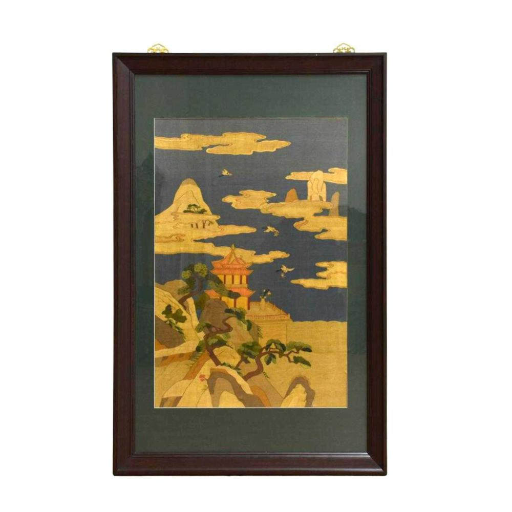 19TH C FRAMED SILK KESI OF ARCHITECTURAL LANDSCAPE