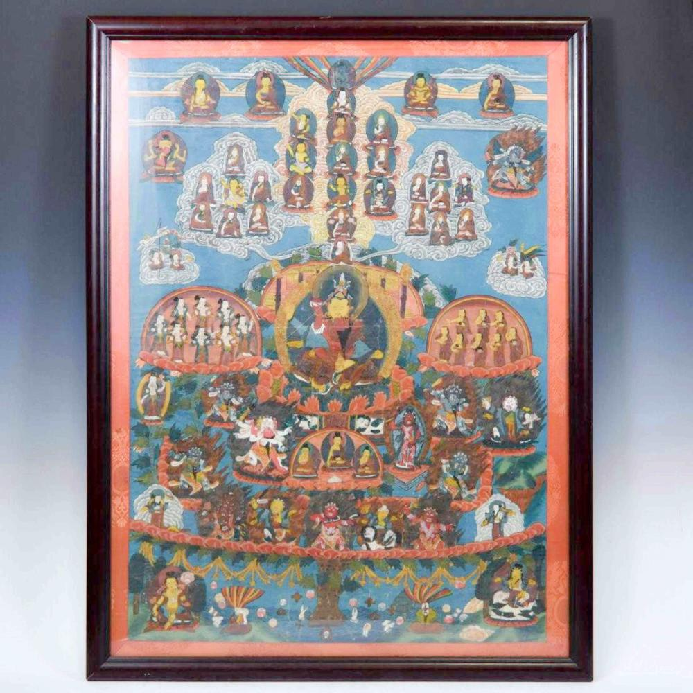 19TH C FRAMED THANGKA NYINGMA PADMASAMBHAVA REFUGE