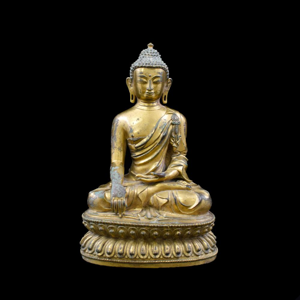 MING CHINESE GILT BRONZE SEATED SHAKYAMUNI BUDDHA