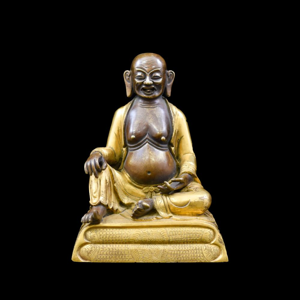 QING GILT BRONZE FIGURE OF BUDDHIST HVASHANG
