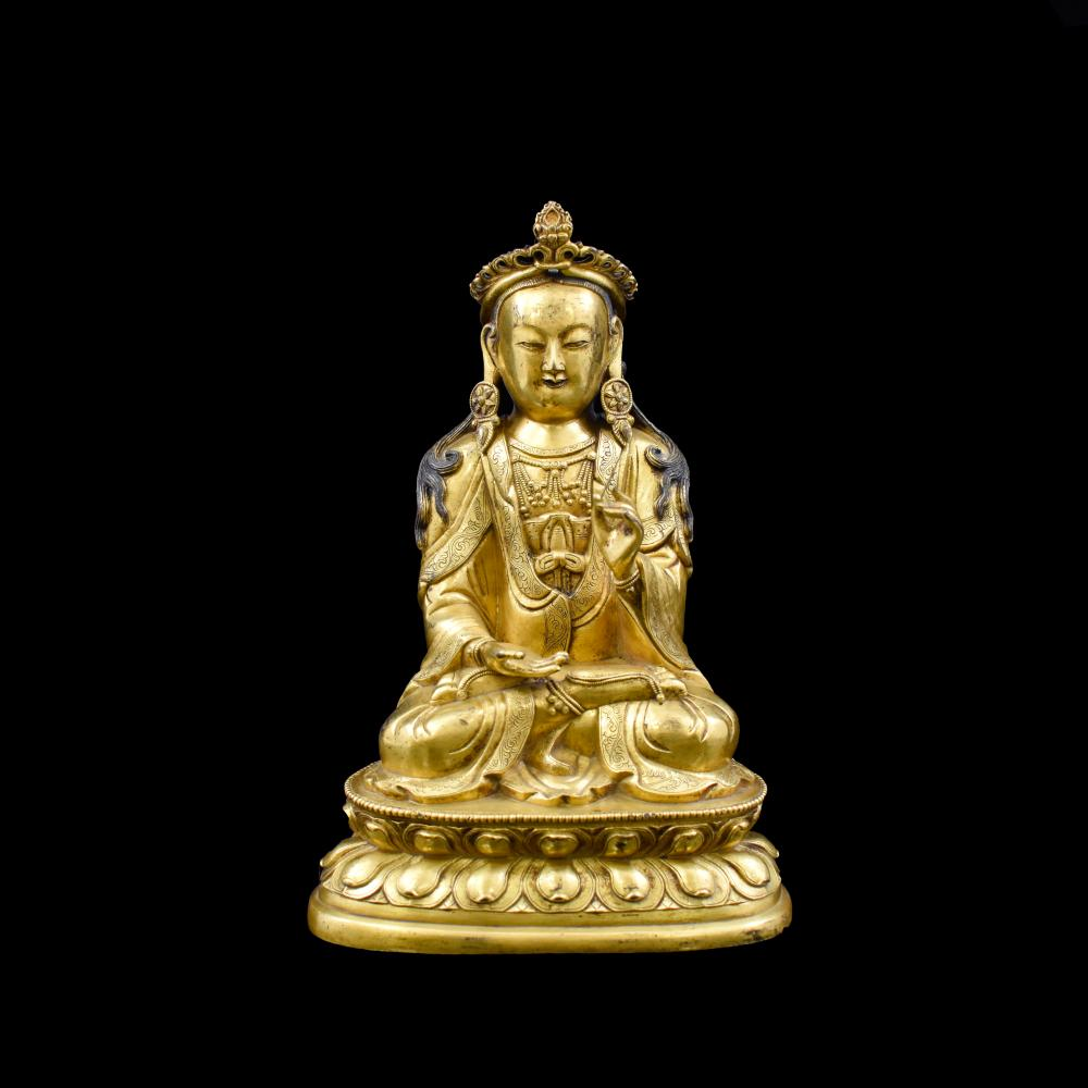 18TH C CHINESE GILT BRONZE MALE FACE GUANYIN